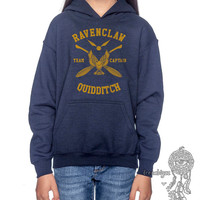 RAVENCLAW Quidditch team Captain YELLOW printed on Navy Youth / Kids Hoodie