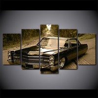 Cadillac lowrider slammed gray tones 5 panel canvas wall art print poster