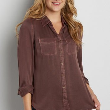 super soft button down shirt in clove brown | maurices