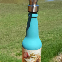 Soap Dispenser, Altered Bottle, Upcycled, Repurposed Teal French Label