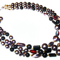 """Black Gray Pink Beaded Necklace Signed Japan Thermoset Glass Beads Silver Clasp 17"""" Vintage 1950s"""
