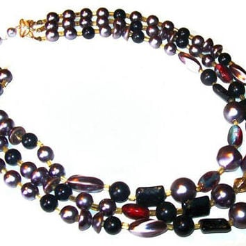 "Black Gray Pink Beaded Necklace Signed Japan Thermoset Glass Beads Silver Clasp 17"" Vintage 1950s"