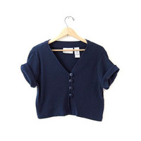 80s Cropped Shirt. Navy blue button front top. Crop belly top.