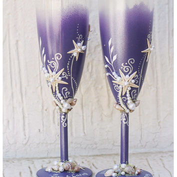 Personalized Wedding Champagne Glasses Hand Painted Set. Violet  Wedding Champagne Glasses Set