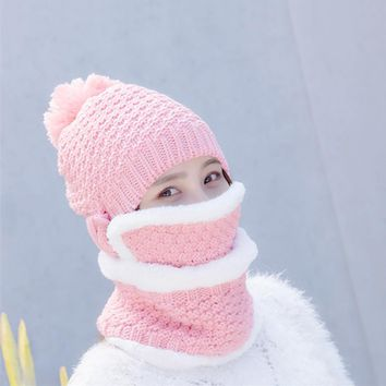 3PCS Winter Ball Hat with Mask Neck Warmer Scarf Women's Winter Wool Hat Scarf Cap with Faux Fur Thicken Lining Female Warm Hat