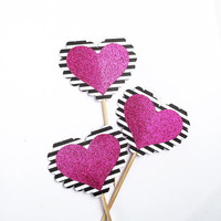Striped Glitter Heart Cupcake Toppers - 12 Black, White, Pink Valentine's Toppers - Valentine's Day // Birthday Party