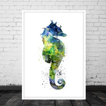 Sea Horse Art Print - Abstract Watercolor Painting - Wall Decor -53