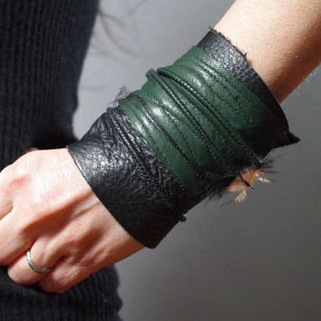 Twisted Leather Cuff Bracelet - Leather Cuff Bracelet - Leather Cuff - Green Leather Cuff Bracelet - Leather Jewelry