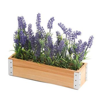Faux Lavender in Galvanized Planter