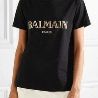 BALMAIN Fashion Women Men Casual Print Button-Embellished Short Sleeve Pure Cotton T-Shirt Pullover Top