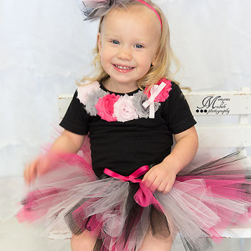 Tutu Outfit - Tutu Set - Birthday Outfit - Hot Pink, Grey, Black - Headband Onesuit T-shirt - Photo Prop - Baby Girl - First Birthday Outfit