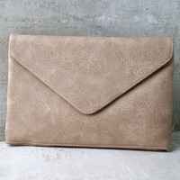 Classically Composed Beige Clutch