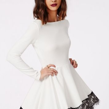 Missguided - Kaley Lace Hem Skater Dress White