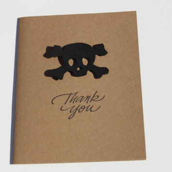 Pirate Thank You Cards, Skull and Crossbones, Rock N Roll