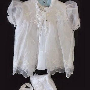 SALE Baby Girl Christening Dress Set, Vintage 4 Pc White Baptismal Outfit, Eyelet Flowers, Lace Slip, Dress, Jacket and Bonnet, Childs Cloth