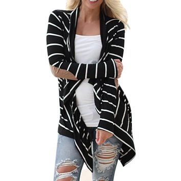 Black and White Striped Elbow Patching PU Leather Long Sleeve Knitted Cardigan Fall Slim 2016 Spring cardigan crochet