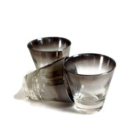 Mid Century, Silver Ombre Shot Glasses, Retro Barware, Set of 3, Home Decor, Mad Men, Dorothy Thorpe, Silver Fade