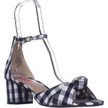 Betsey Johnson Ivee Ankle Strap Sandals, Blue Gingham, 6 US