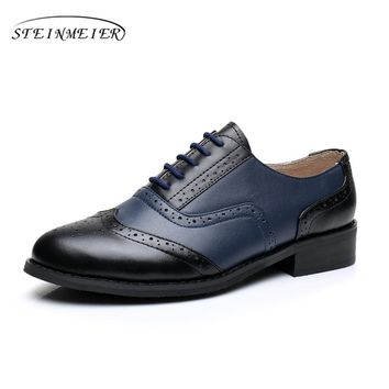 women flat leather oxford shoes woman handmade US 10 black blue 2017 sping vintage British style oxfords shoes for women fur