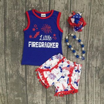 girls summer clothes children July 4th Patriotic clothes girls little FIRECRACKER outftis with unicorn shorts with accessories