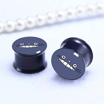 MY Neighbor Totoro  face plugs   , Screw on Gauge ear plugs ,  double flared  plugs,Black Titanium ear plugs ,Pricing body jewerly