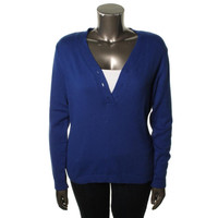 Charter Club Womens Knit Ribbed Trim Henley Sweater