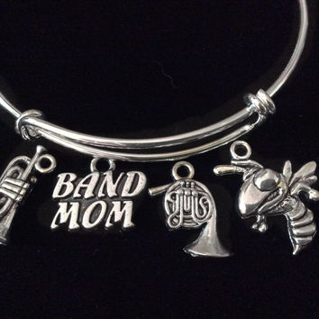 Band Mom Silver Expandable Charm Bracelet Adjustable Wire Bangle Gift Trendy Musician Music Trumpet Tuba French Horn