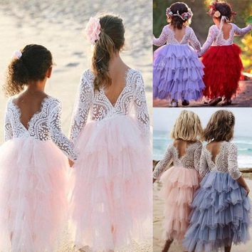 Toddler Kid Baby Girls Lace Dress Party Prom Bridesmaid Party Pageant Dresses US