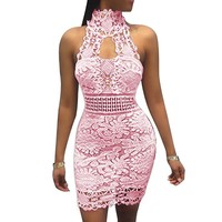 Floral Lace Dress Halter Backless Casual Elegant Bodycon  Hollow Out Mini Dresses