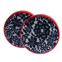 "Black Lace Plugs 1 1/4"" (32mm)"
