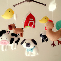 "Baby crib mobile, Farm mobile, animal mobile ""Barnyard 3"" - Rooster, Sheep, Cow, Sheepdog, Horse, Chicks"