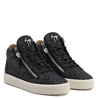 Giuseppe Zanotti Gz Kriss Glitter Black Fabric Mid-top Sneaker With Glitter Finishing