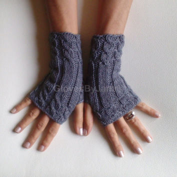 95 Cashmere glove gray Grey fingerless gloves cozy luxury gloves cable gloves graygloves armwarmers super soft