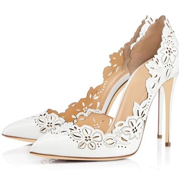 Hollow PU Stiletto Heel Pionted Toe High Heels Party Shoes
