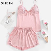 Pink Summer Pajamas for Women Floral Lace Detail Spaghetti Strap Top With Shorts Pajama Set