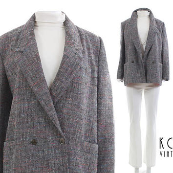 "DIOR Tweed Jacket Women 80s Clothing Vintage Chirstian Dior Donegal Tweed Plaid Jacket Vintage Clothing Women's Size MEDIUM // 41"" Bust"