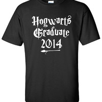 Hogwarts Graduate 2014 deathly hallows Alumni t-shirt tee shirt Printed Mens Womens Ladies Funny Harry Potter Wizard Magical DT-23