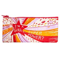 I'm a Girl, What's Your Super Power Pencil Case in Red, Purple and Orange