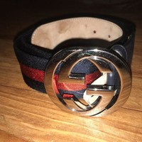 ICIKB7E Authentic Mens Gucci Web belt with G buckle Belt Blue and Red Size 90/36
