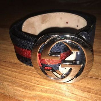 CREYON8Y Authentic Mens Gucci Web belt with G buckle Belt Blue and Red Size 90/36