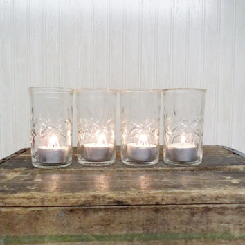 Vintage Jelly Jar glasses Kitchen Housewares Serving Entertaining Dining Storage Organization Candle Holder