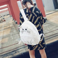 Lovely Cat Printing Backpack Women Canvas Backpack School Bags