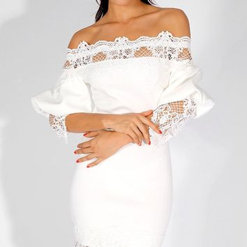 Dating Around White Lace 3/4 Lantern Sleeve Off The Shoulder Bodycon Mini Dress