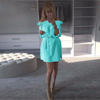 Women Summer Chiffon Dress Fashion Ruffles Slash Neck Bow Belt Dresses Casual Puff Sleeve Kawaii Loose Straight Dress -0331