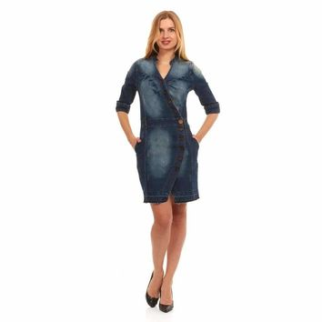 Red Jeans Women's Ranch Style Short Sleeve Denim Dress