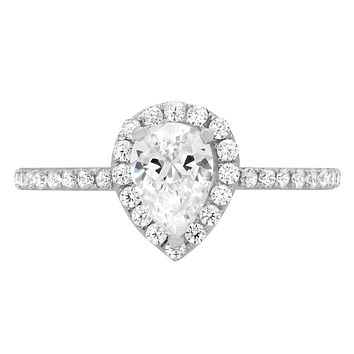14K White Gold 1.4CT Pear Cut Halo Russian Lab Diamond Engagement Ring