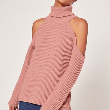 Missguided - Chunky Cold Shoulder Jumper Pink
