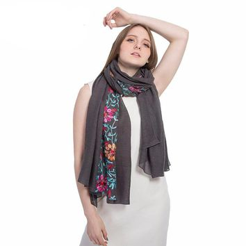 Long big size embroidered scarf For women