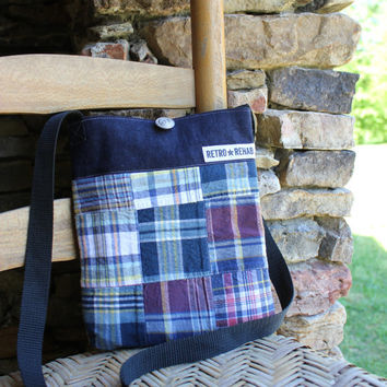 Ecofriendly SUNNY Patchwork Hipster, Nautical, Navy, Madras Plaid, Quilted Bag, Vegan Purse  -- Upcycled Recycled Repurposed