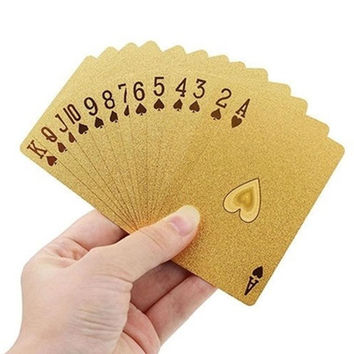 Geometric Style Waterproof 24K Gold Foil Poker Playing Game Cards Poker Set For Casino Table Game Board Game Friends Family